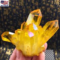 US Natural Yellow Crystal Quartz Citrine Cluster Mineral Specimen Healing Stone