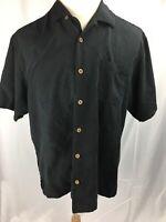 Tommy Bahama Men Sz LARGE Black Button Down Shirt Short Sleeves Silk Leaf