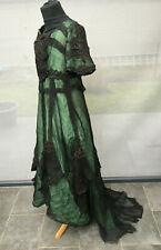 RARE robe de soirée 1900 dentelle soie (corset caraco jupe chapeau gants vintage