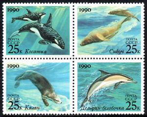 Russia 5933-5936a Bl/4, MNH. Killer Whales, Sea Lions, Sea Otter, Dolphin, 1990