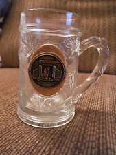 "Excalibur Heavyweight Engraved Glass Stein Mug 5"" w Gold Emblem"