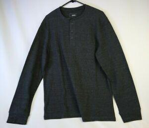 Sonoma Gray Tri-Blend Thermal Men's Long Sleeve Shirt Large L