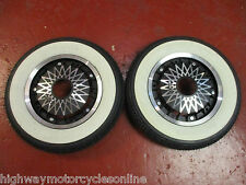 VESPA PX 125 BLACK DIAMOND WHEEL TYRE SET PAIR WITH CONTINENTAL K62 WHITE WALL