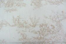 Waterside Olive Green Cotton Toile De Jouy Curtain//Craft Fabric 140cm wide