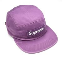NWT Supreme NY Men's Purple Box Logo Washed Twill Camp Cap Hat FW18 DS AUTHENTIC