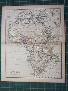 1887 ANTIQUE MAP ~ AFRICA ~ CAPE COLONY MADAGASCAR SOUDAN BARBARY NUBIA