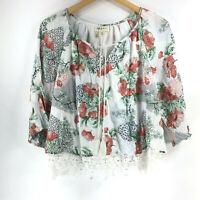 Style & Co Macys Petite size PP Floral Peasant Top 3/4 Sleeve Crochet Hem Boho