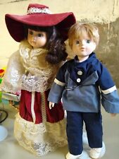 2 Porcelain Dolls From Estate Collection Girl With Dark Hair And Hat, Blonde Boy