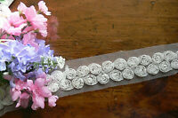 Mini Dbl Row Flowers 33mm wide Lace WHITE Overall with Net 55 mm wide 2 Metre