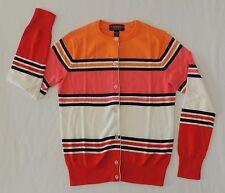 Lands End Womens Petite XXS 00-0 Classic Supima Stripe Cardigan Sweater Button