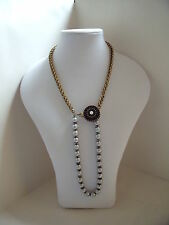 New 1920s Style Art Nouveau Statement Long Gold Necklace & Silver Glass Pearls
