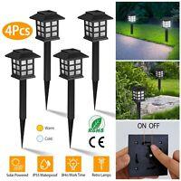4-12Pcs LED Solar Pathway Lights Outdoor Lanscape Garden Lawn Waterproof Lamp