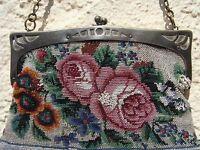 Jugendstil Rosen & Stiefmütterchen ~ Perlen ~ Stickerei Handtasche Abendtasche