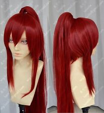 High Quality Anime Fairy Tail Erza Scarlet 100cm Long Ponytail Cosplay Wig E064
