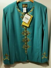 NWT BOB MACKIE L 14 60% OFF Clearance Tall Long Teal Gold Jacket Fully Lined