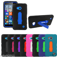 For Lumia 640 Hybrid Rugged Armor Case w/Stand Hard Phone Cover Cricket AT&T