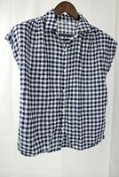 Old Navy Cotton & Polyester Blend Blue & White Buttoned Cap Sleeve Top Size - PS