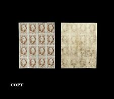 USA 1847, - THE FAMOUS LORD CRAWFORD BLOCK OF SIXTEEN OF THE 5c,COPY