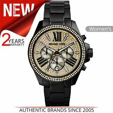 1f34427878a6 Michael Kors Wren Crystal Pave Dial Black Ion Plated Chrono Ladies Watch  MK5961