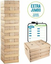 Giant Tumbling - 60 Extra Jumbo Wooden Blocks Floor Game for Kids and Adults
