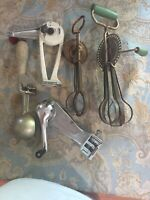 Lot Of Antique Vintage Kitchen Utensils Can Openers Egg Beaters Scoop
