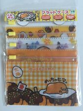 Set 4 Sanrio LE Osaka Japan Gudetama Lazy Egg Vinyl Zipper Coin Card Storage Bag
