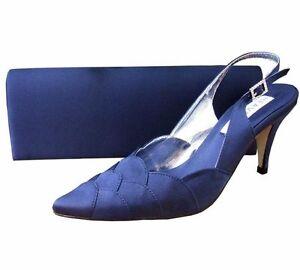 Ladies Wedding Party Heel Shoe Evening Shoes Diamante Navy Blue Satin NEW