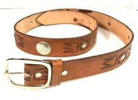Unbranded Men's Brown Genuine Hand Tooled Leather Belt Size 39
