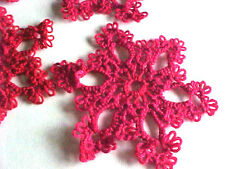 "1 New Shuttle Tatted SnowFlake Red Christmas HolidayTatting 2 1/2"" Dove Country"