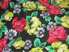Shabby cottage chic pink & yellow bright roses on black fabric material sewing