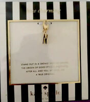 NEW Kate Spade New York How Charming Gold-Tone Initial N Letter Charm Dust Pouch