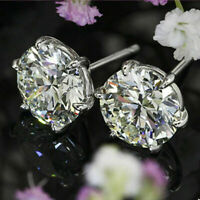 2Ct Round Moissanite Six Prongs Solitaire Earrings Engagement 14K White Gold FN