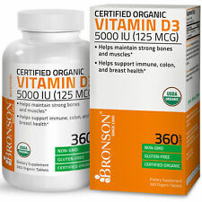 Vitamin D3 5,000 IU High Potency USDA Certified Organic Vitamin D, 360 Tablets