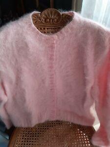 Superbe 🇨🇵Gilet  Angora rose tendre 🐇🐇anny blatt très  poilu  fait  France