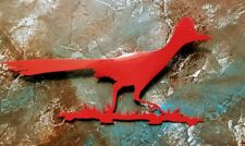 Roadrunner red metal bird wall and yard art detachable stake powder coated