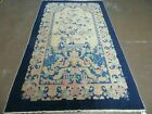 4'X7' Antique Hand Made Chinese FETTE Peking Art Deco Wool Rug Butterfly DRAGON