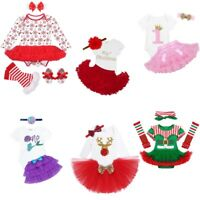Infant Baby Girls Xmas Romper Long Sleeves Christmas Outfit Birthday Party Skirt