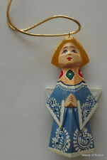 """ornament Russian hand carved&painted wood  angel w/wings.3.2 """"  #4"""