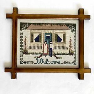 """Finished Completed Counted Cross Stitch Amish Couple Welcome Framed 12.5"""" x 10"""""""