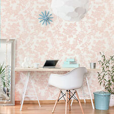 CROWN VINTAGE LACE CREAM ROSE GOLD LUXURY  FEATURE DESIGNER WALLPAPER M1110