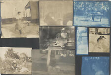 VINTAGE PHOTO ALBUM PAGE W/ 9 PHOTOS OF DOGS, HORSES, FAMILY, GOAT   CYANOTYPES