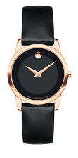 Movado Museum Classic Women's Wristwatch with Black Calfskin Strap - 607079