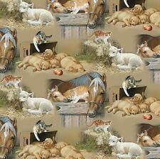 Fabric Baby Barn Farm Animals on Hay Cotton 1 Yard S