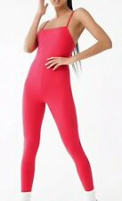Forever 21 Hot Pink Unitard Jumpsuit Catsuit One Piece Size S NEW