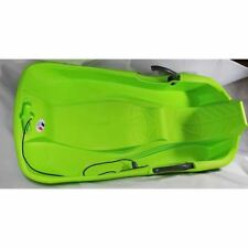 Snow Sleds Luge Classic Green Plastic Double Seat Sledge with Brake Toboggan
