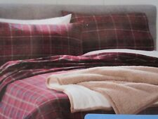 CUDDL DUDS FLANNEL FULL SIZE SHEET SET RED/BLUE PLAID HEAVYWEIGHT NIB!