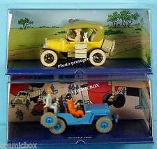 TINTIN lot voitures FORD T jaune JEEP WILLYS cj Objectif Lune auto prize of car