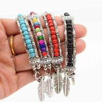 Men Beads Ethnic Turquoise Bracelet Tibetan Silver Bangle Feather Bracelet
