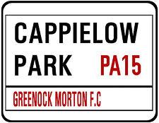 GREENOCK MORTON F.C. STREET SIGN ON MOUSE MAT / PAD.  CAPPIELOW PARK