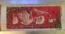 "Large Printed Needlepoint Canvas SWANS Pattern 11.25"" x 29"" KA 4017"